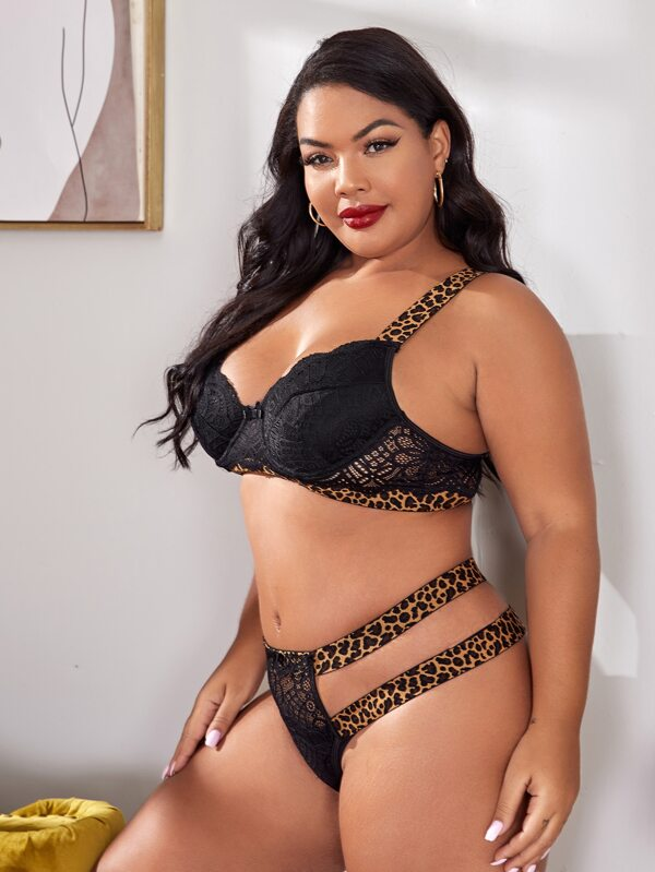 Plus Size Leopard Trim Lace Lingerie Bra Set