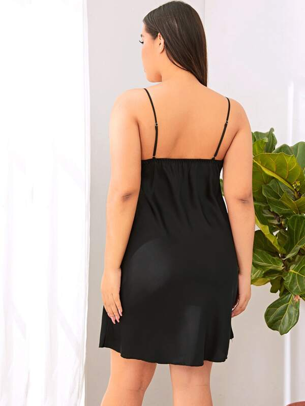 Women Black Satin Lace Cami