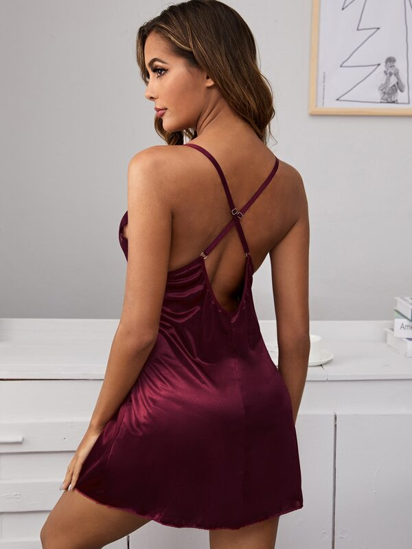 Women Sexy Satin Slip with Lace