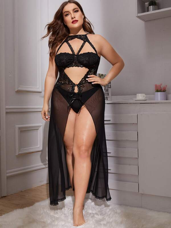 Women Mesh Lingerie Gown with Lace