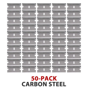 "50-Pack Carbon Steel Single Edge Razor Scraper Blades Individually Wrapped - #9 .009"" Thick x 1.5"" Wide"