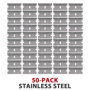 "50-Pack High Quality Stainless Steel Single Edge Razor Scraper Blades Individually Wrapped - #9 .009"" Thick x 1.5"" Wide"