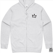 XK Crown (Front) Logo (Back) - Unisex Marble White Zip Hoodie
