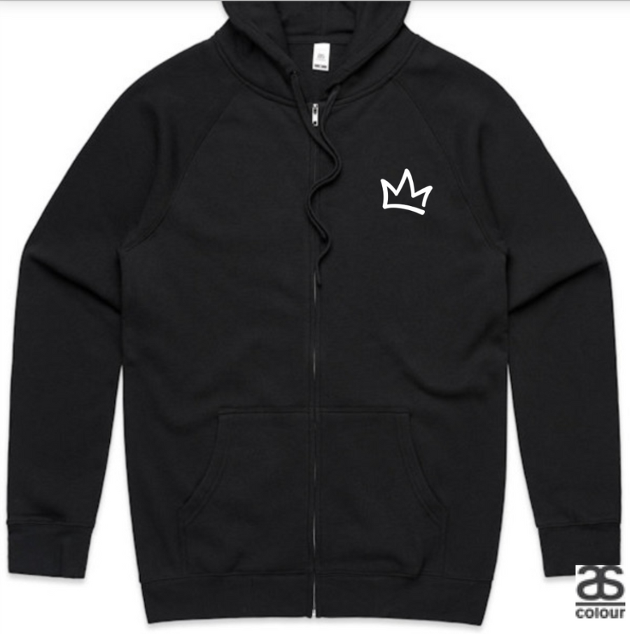XK Crown (Front) Logo (Back) - Unisex Black Zip Hoodie