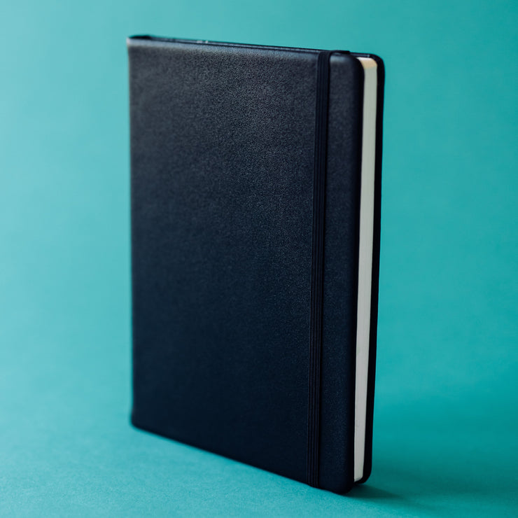 Cover of Productivity Notebook in black leather with black elastic band