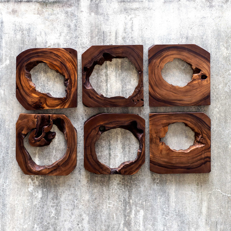 Set of six 6 wood wall art pieces finished in a rich coffee brown color