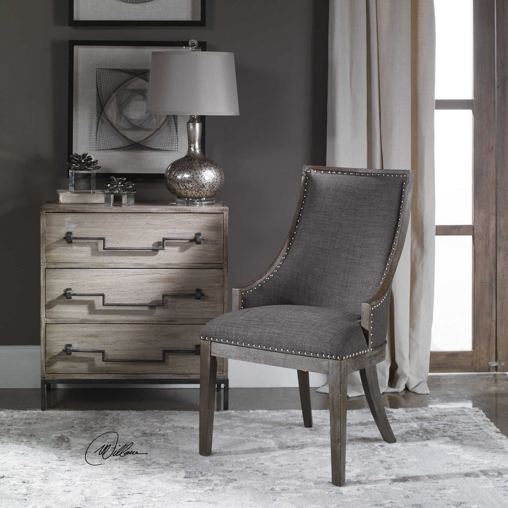 Gray linen farmhouse accent chair with nickel nailhead trim