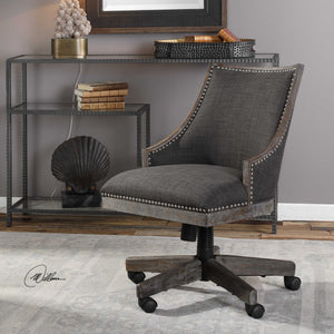 Gray linen farmhouse office desk chair with nickel nailhead trim