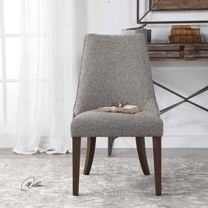grey side chair with brown finish legs