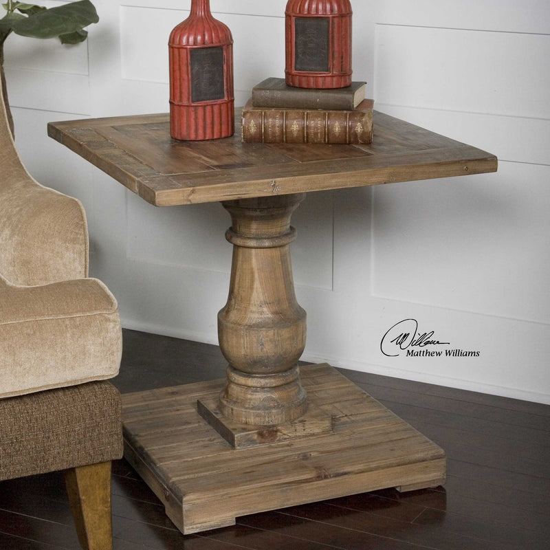 barnwood farmhouse distressed side end table on a wood floor