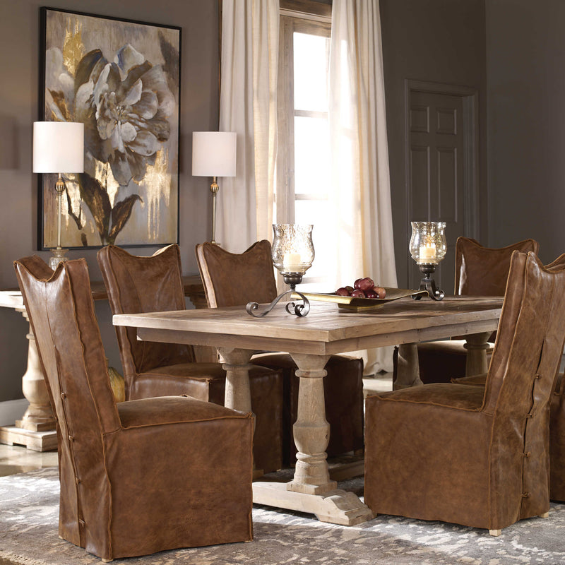 barnwood farmhouse distressed dining table with leather parsons chairs