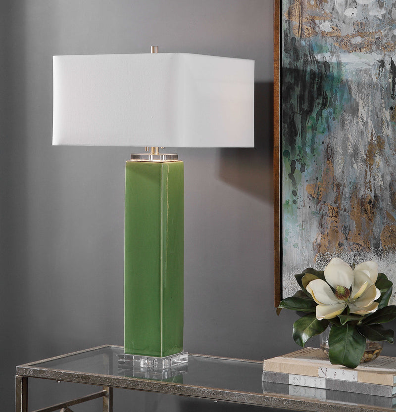 Green square ceramic table lamp with crystal and brushed nickel accents