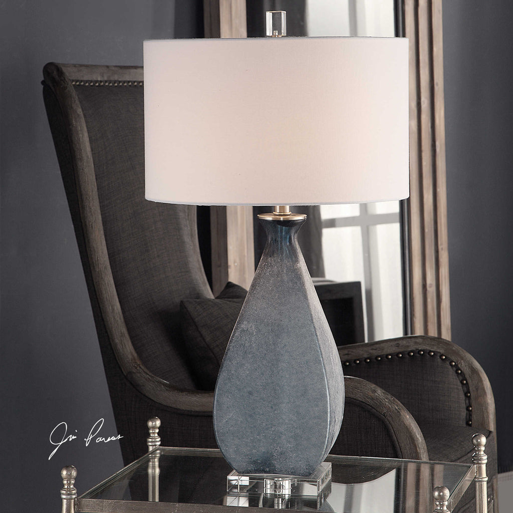 Blue glass base lamp with brushed nickel and crystal details