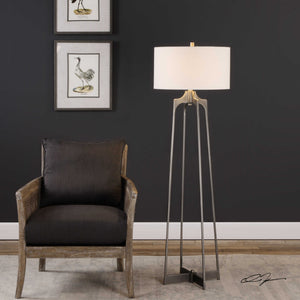 Steel aged gunmetal floor lamp with a white linen shade