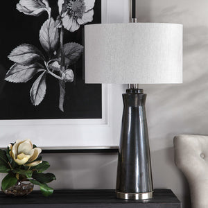Contemporary ceramic table lamp with a dark gray finish