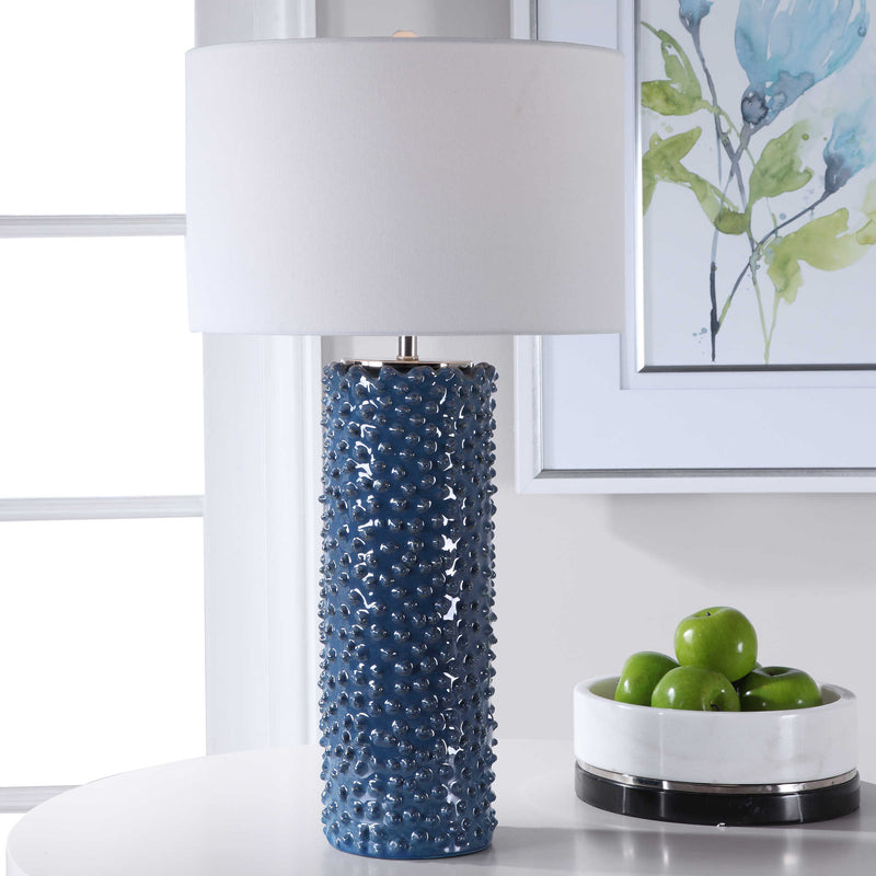 Deep indigo casual coastal style table lamp with brushed nickel accents