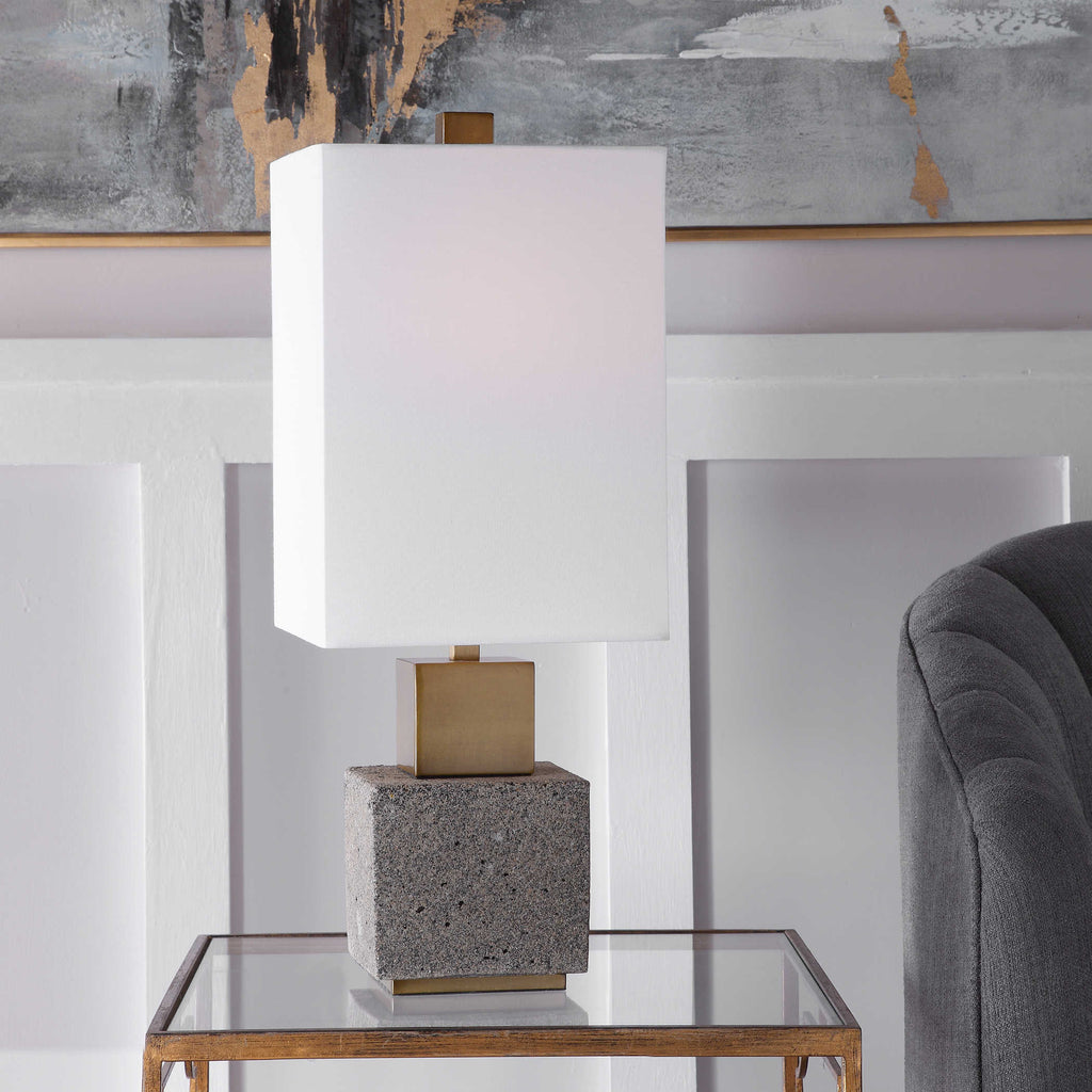 Dark gray buffet lamp with gold accents and a white square lampshade