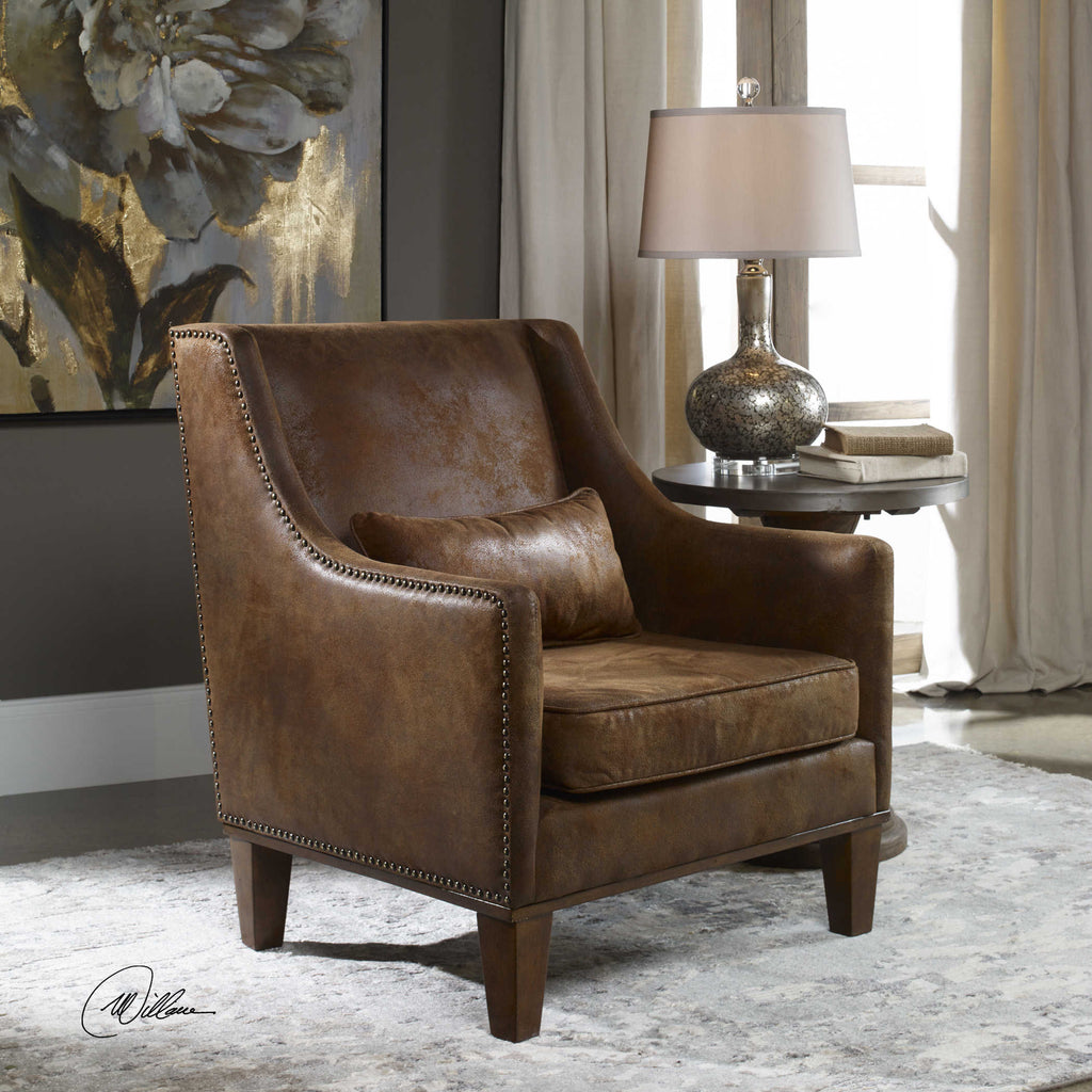 Faux tanned leather look, velvety soft brown fabric with antique brass nailheads