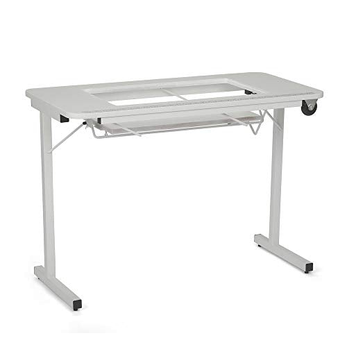 Arrow 611 Gidget II Folding Sewing, Cutting, Quilting, and Craft Table, Portable with Wheels and Lift, White Finish