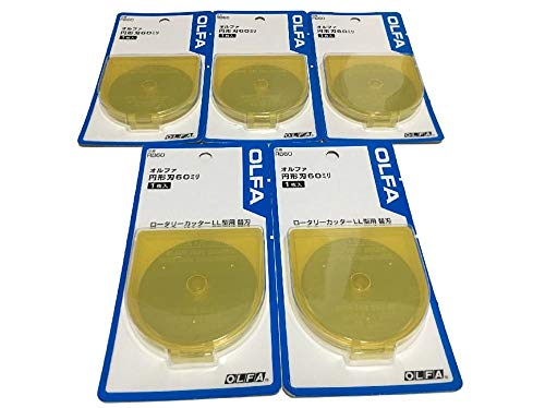 OLFA 60mm Tungsten Tool Steel Rotary Blades,Set of 5 [Japan Import] (60mm)