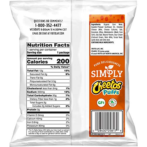 Joyce in Florida:  Cheetos Simply White Cheddar Puffs 1.25 ounces (Pack of 64)