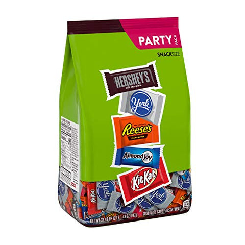 Hershey Assorted Miniatures Milk and Dark Chocolate Assortment Candy, Easter, 33.43 oz Party Bag (60 Pieces)