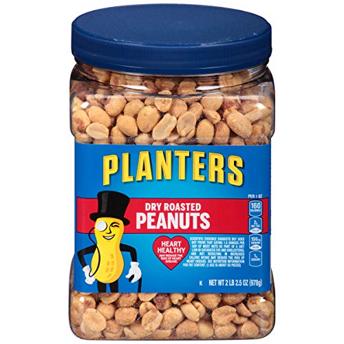 Janie in Georgia: PLANTERS Dry Roasted Peanuts, 34.5 oz. Resealable Plastic Jar - Peanuts with Sea Salt - Peanut Snacks - Shareable Snacks - Heart Healthy Snacks for Adults - Great School Snack or Work Snack - Kosher