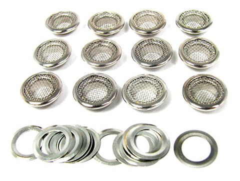 12pc. Shiny Nickel 15mm (outside diameter) Screened Grommets