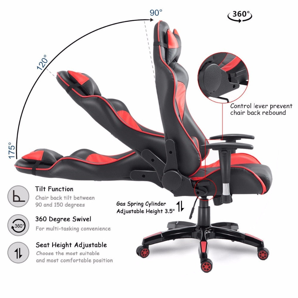 High Back Executive Gaming Racing Office Chair Adjustable Recliner Swivel Seat