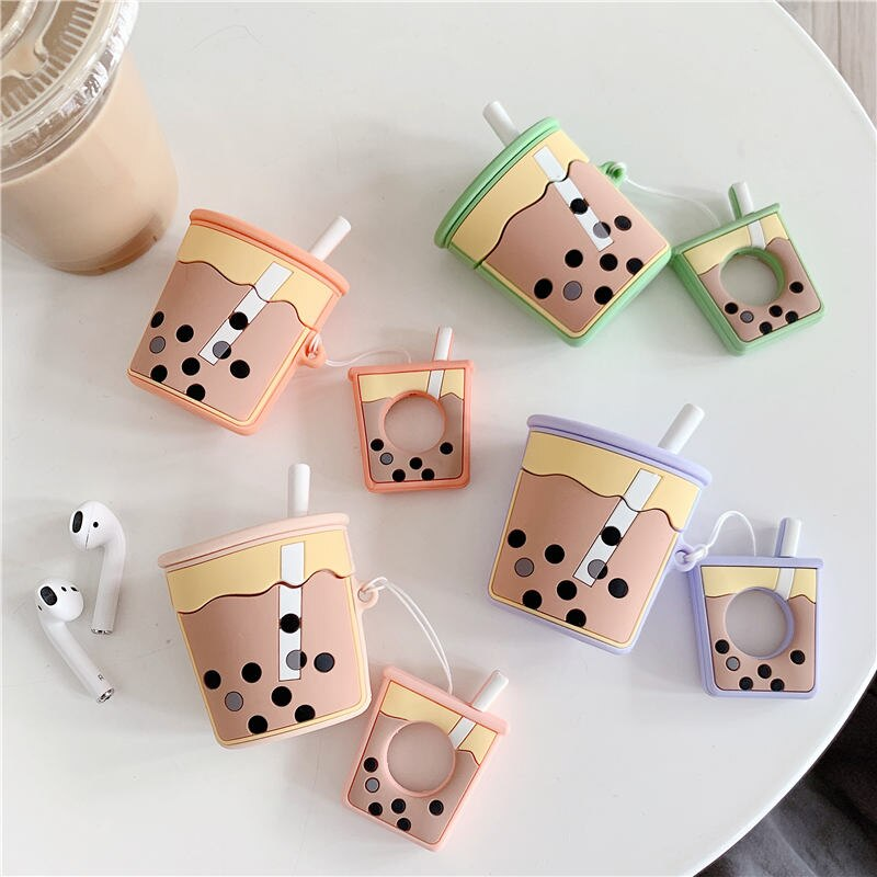 Bubble Tea AirPods Cover Case With Finger Ring Strap