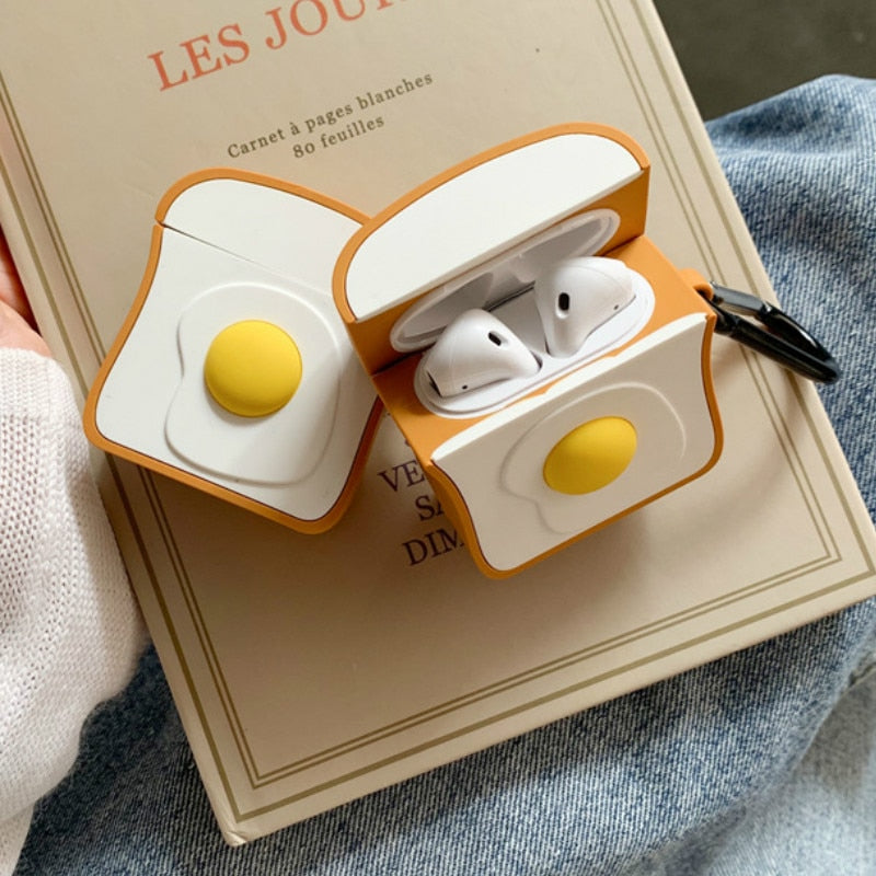 Egg on a Toast AirPods Cover Case With Keyring