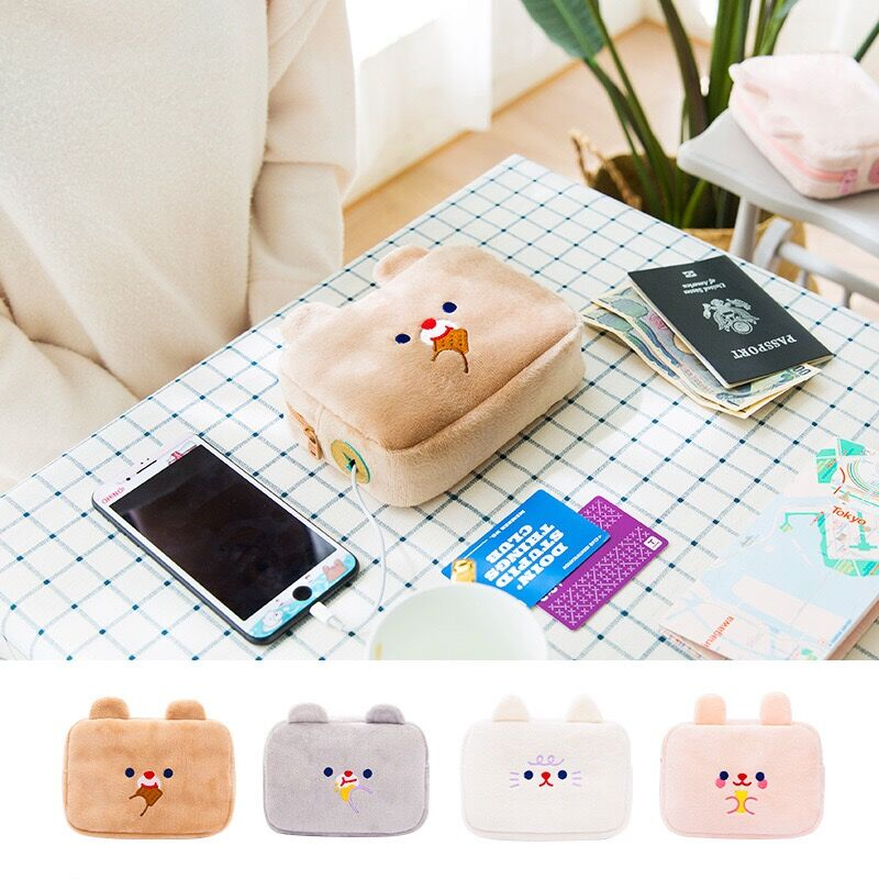 Rabbit/Bear Plush Cable Bag