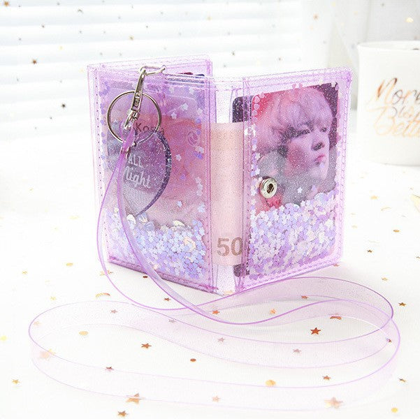 Mini Glitter Clear Wallet with Lanyard