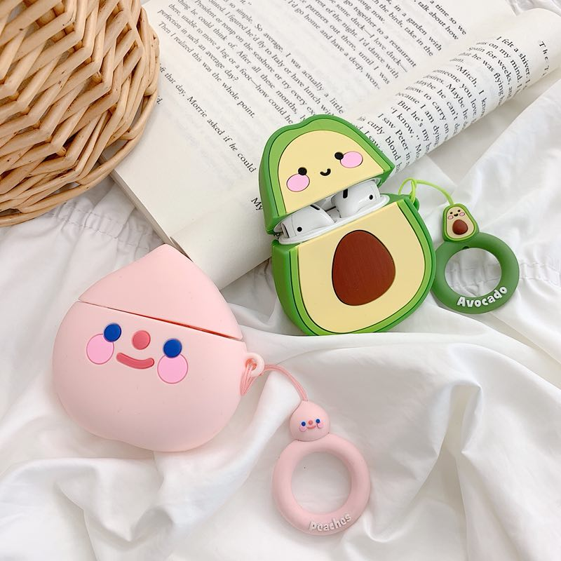 Avocado/Peach AirPods Cover Case With Finger Ring Strap