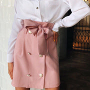Ribbon Buttoned High Waist Skirt