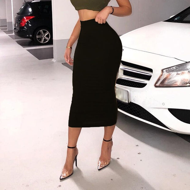 Bodycon High Waist Midi Skirt