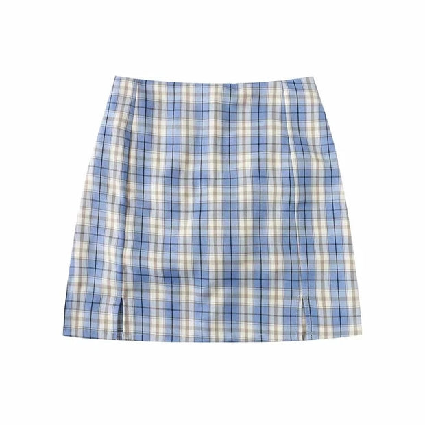Plaid Checkered Mini Skirt Pants