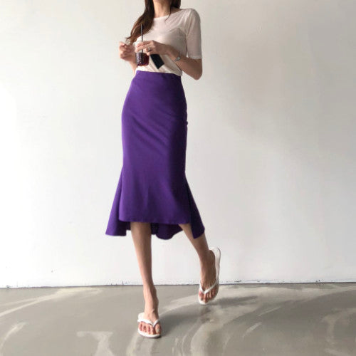 Ruffles Mermaid Asymmetrical Midi Skirt