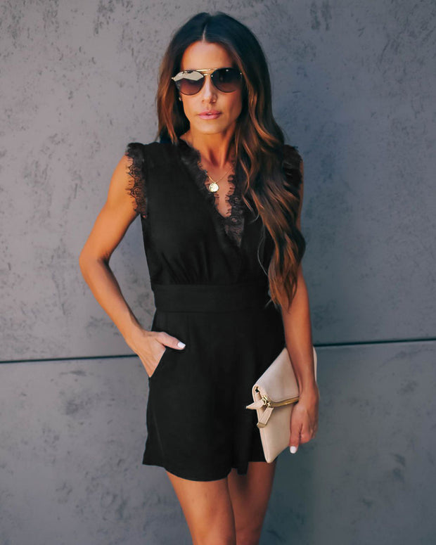 Modern Lace Jumpsuit in Black
