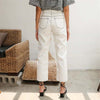 Contrast Stitch Straight Jeans in White Denim