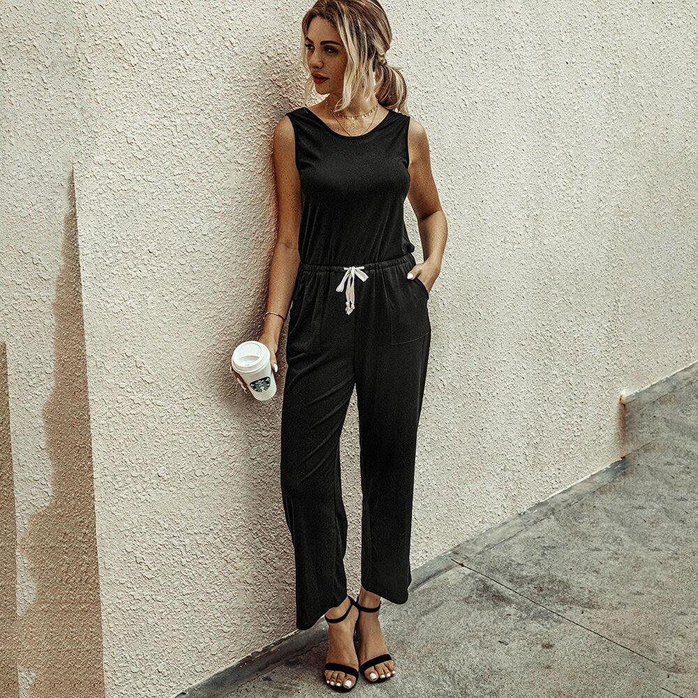 Jumpsuit Women Summer Backless Black Rompers Casual Ladies Wide Leg One Piece Outfits Suit Pockets 2020 Grey Womens Clothing