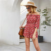 Red Floral Off Shoulder Short Sleeve Jumpsuit