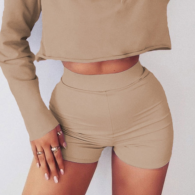 High Waist Casual Biker Shorts