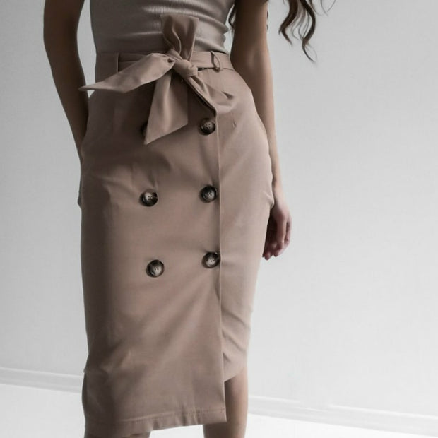 Utility Button Midi High Waist Skirt