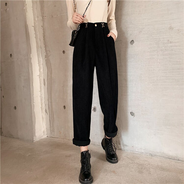 Harem Corduroy Slim Mom Pants