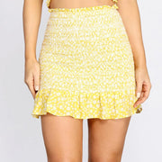 Summer Floral Mini Skirt in Yellow