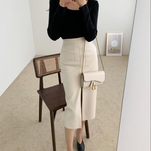 Faux Leather Slim Midi Skirt