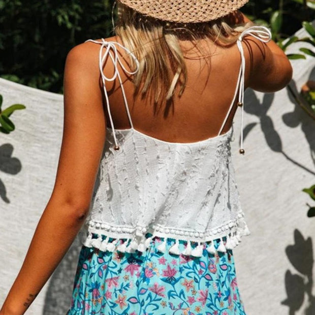 Boho Vintage Tassels Tank Top in White