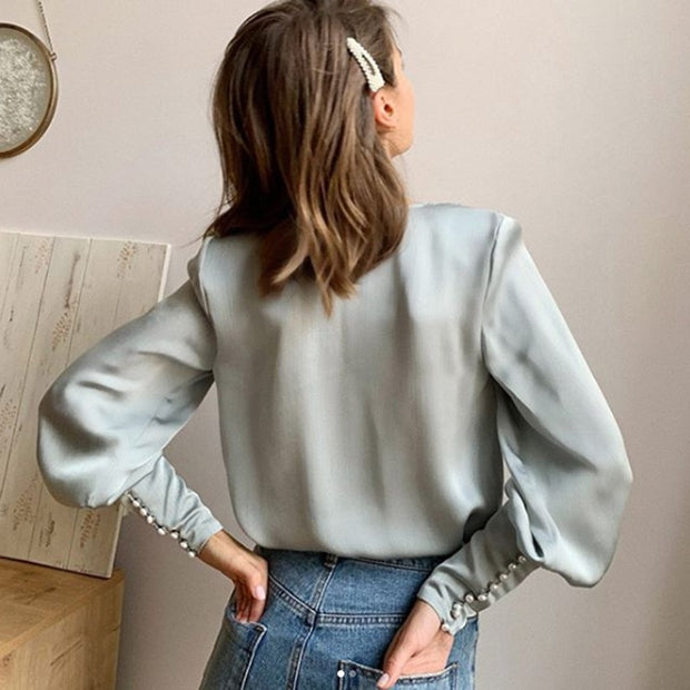 Vintage Puffy Buttoned Satin Long Sleeve Top