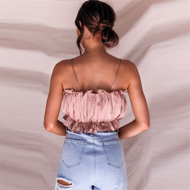 Pleated Satin Cami Top
